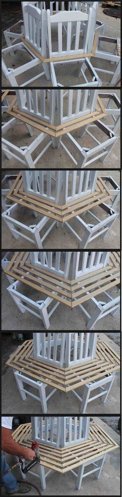 Turn Old Kitchen Chairs into a Tree Bench.