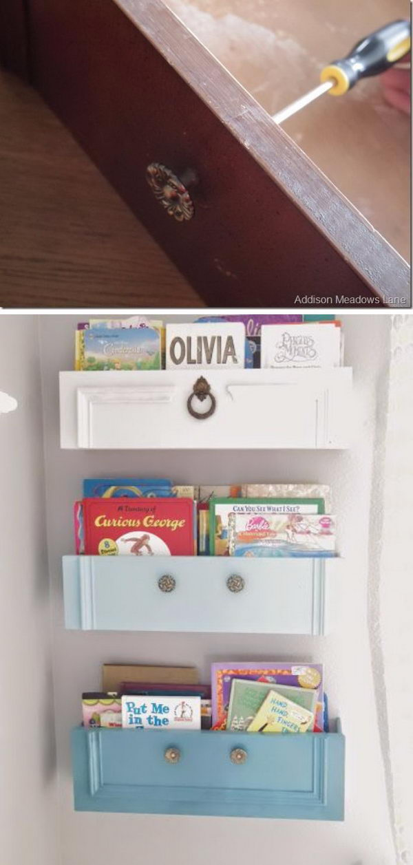Upcycled Dresser Drawers Into Shelves.