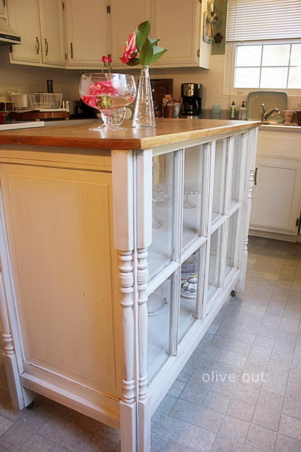 Kitchen Island Out Of Old Windows.