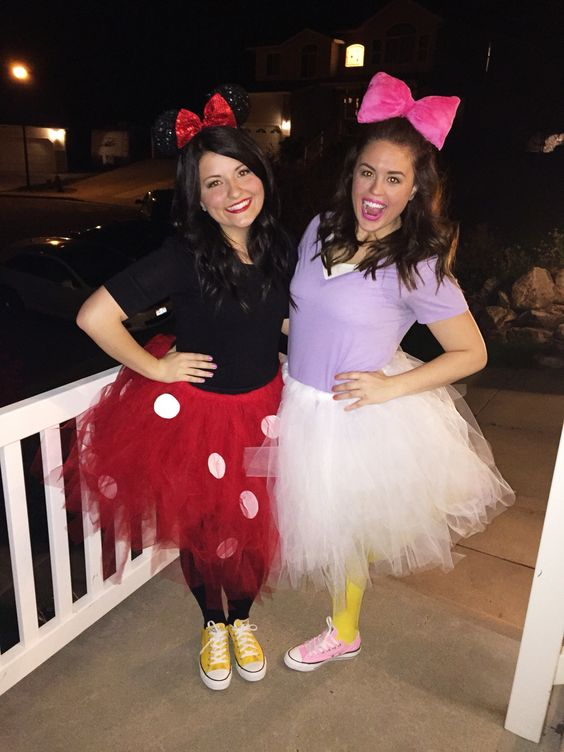Minnie Mouse and Daisy Duck Halloween costumes.