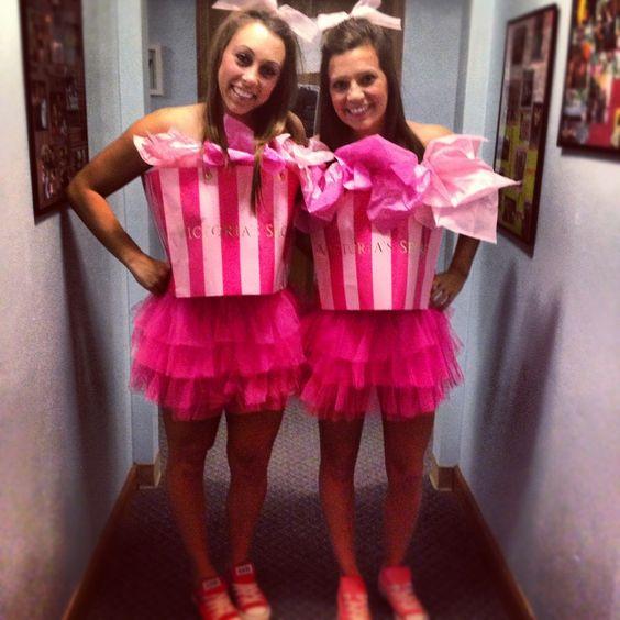 Victoria's Secret gift bag costumes.