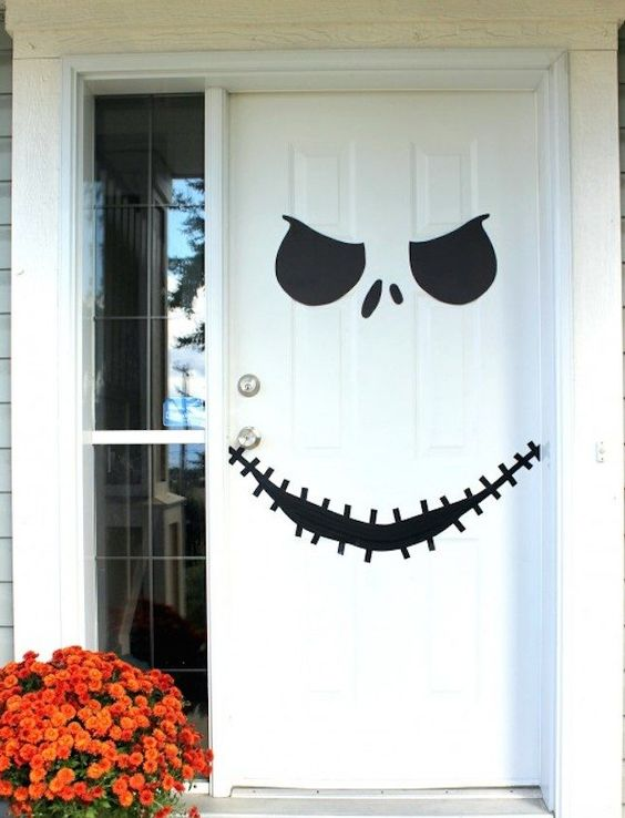 Decorate Your Door with Jack Skellington's Face for Halloween.