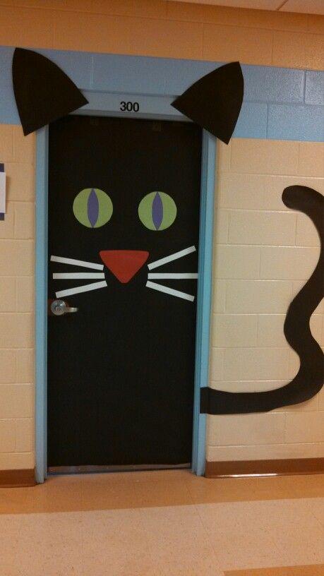 Black Cat Halloween Door Decoration.