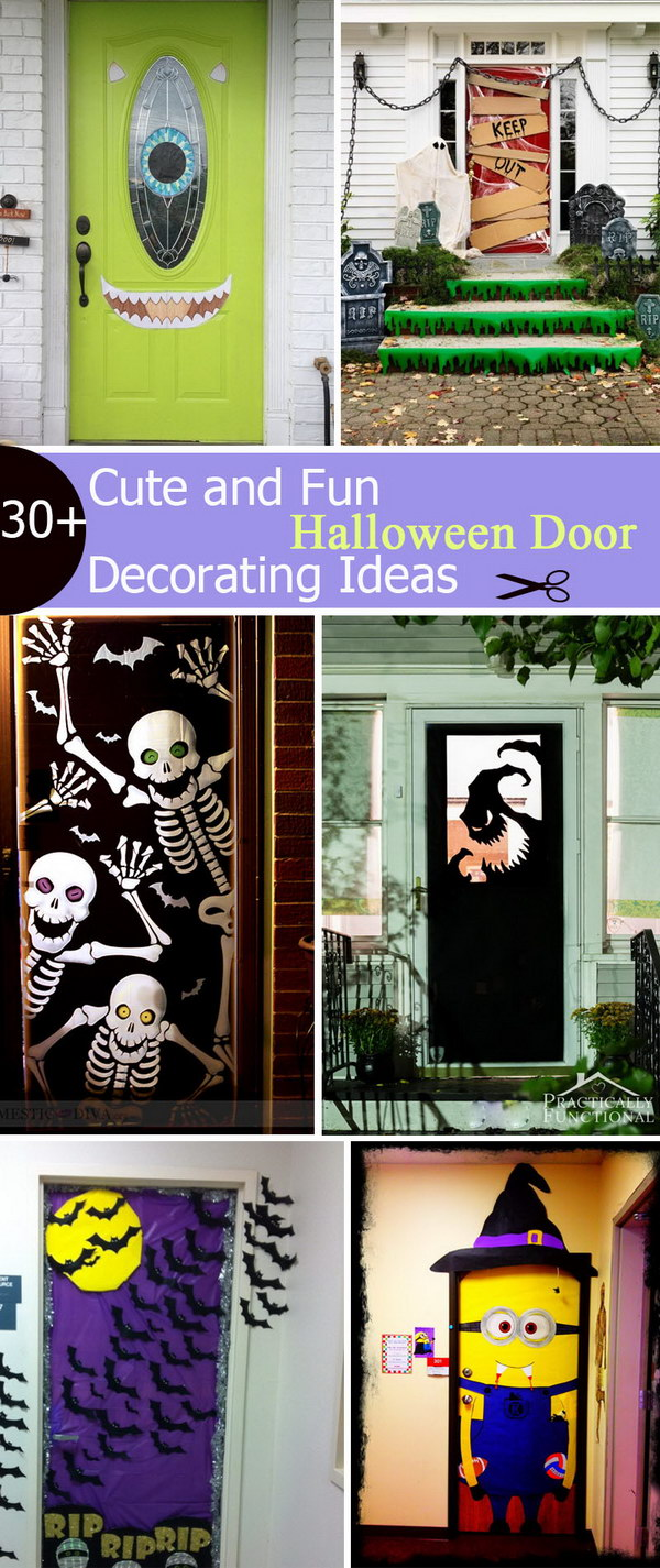 Cute halloween door decorations - Cute And Fun Halloween Door Decorating Ideas
