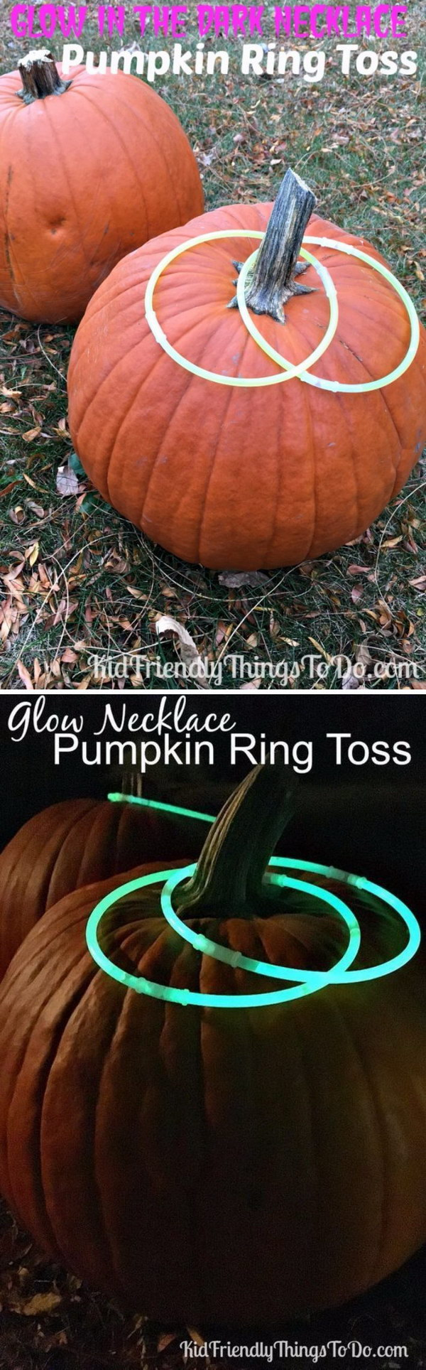 Halloween Ring Toss Game Using Glow In The Dark Necklaces As Rings.