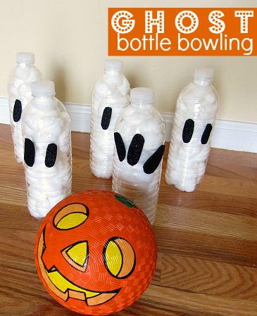 Ghost Bottle Bowling Halloween Game For Kids.
