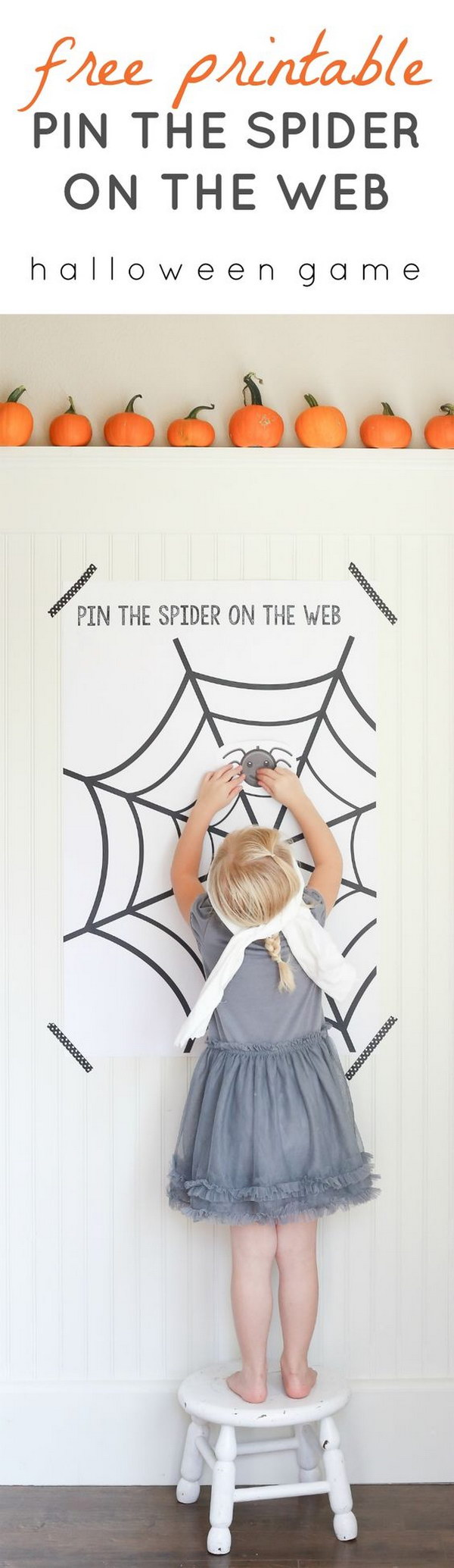 Halloween Pin the Spider on the Web Game.