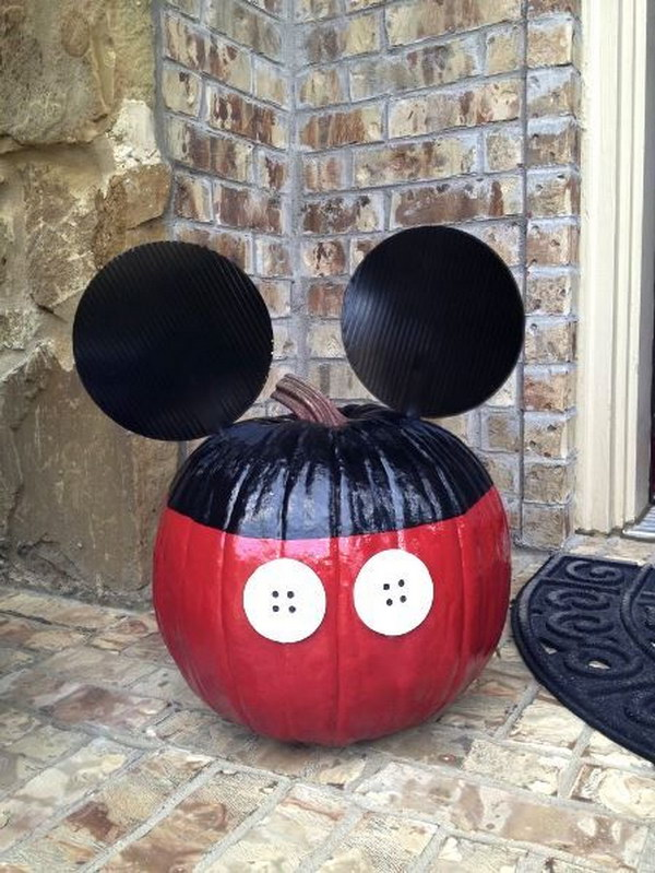 No Carving Mickey Mouse Pumpkin