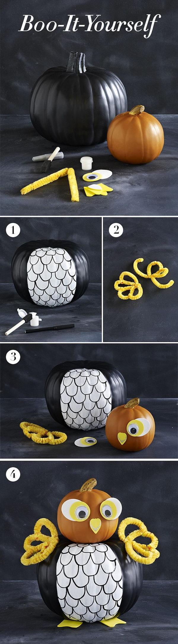 DIY Owl Pumpkin.