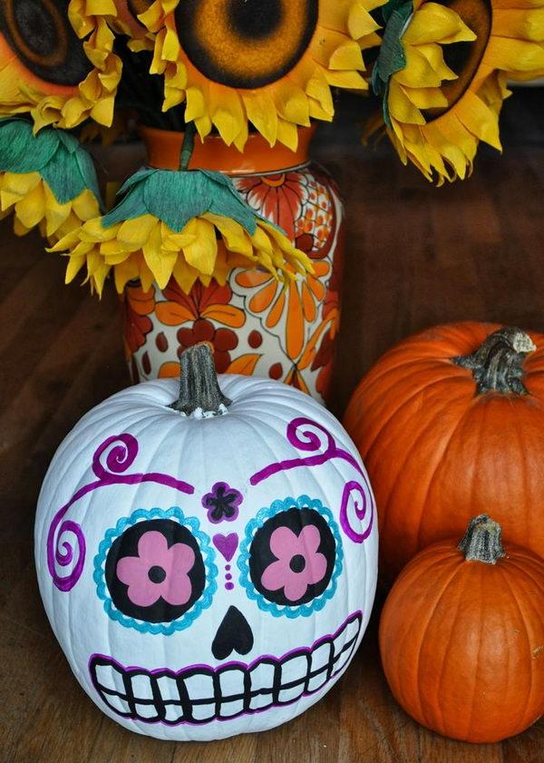DIY Sugar Skull Pumpkin .