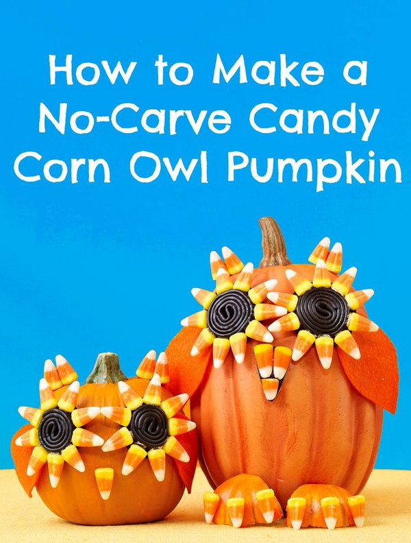 Halloween Candy Corn Owl Pumpkin. Decorated the no-carve ...  sc 1 st  IdeaStand & Creative and Stylish No-carve Pumpkin Decoration Ideas 2017
