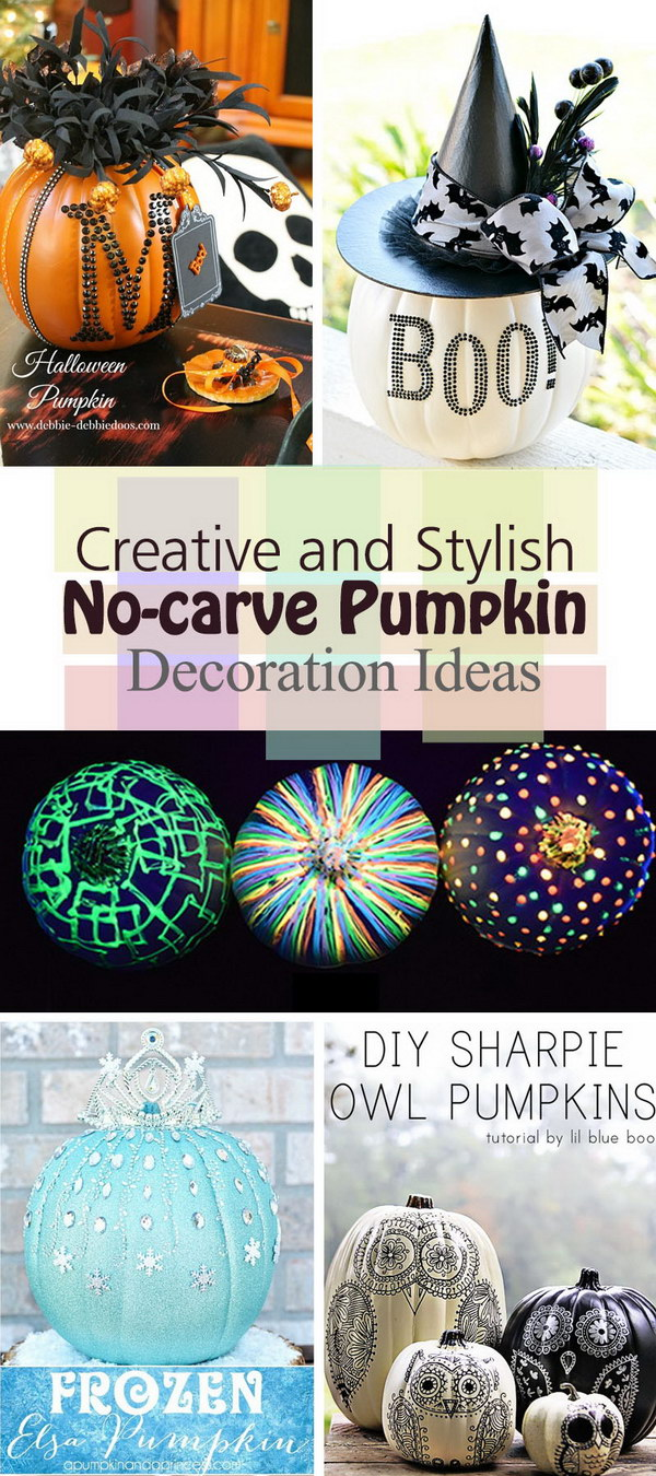 Creative and Stylish No carve Pumpkin Decoration Ideas!