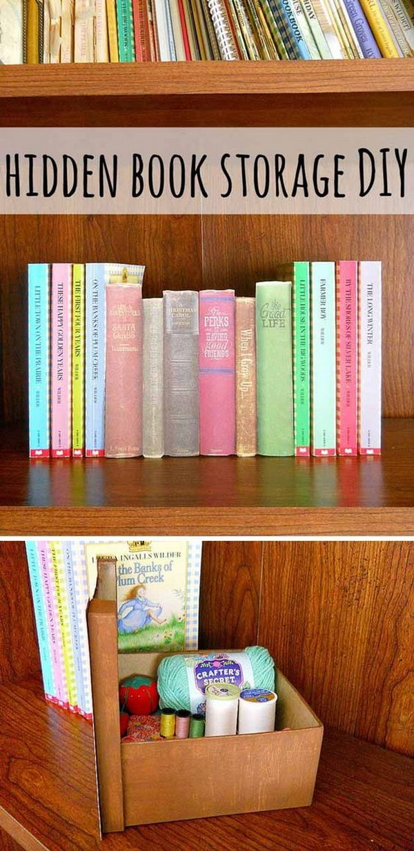 Hidden Book Storage Bin