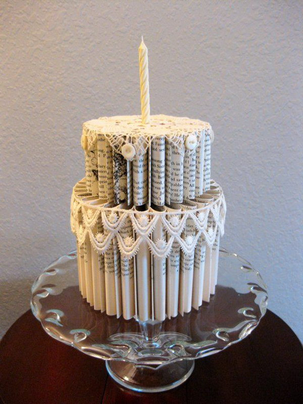 Folded Book Pages Cake