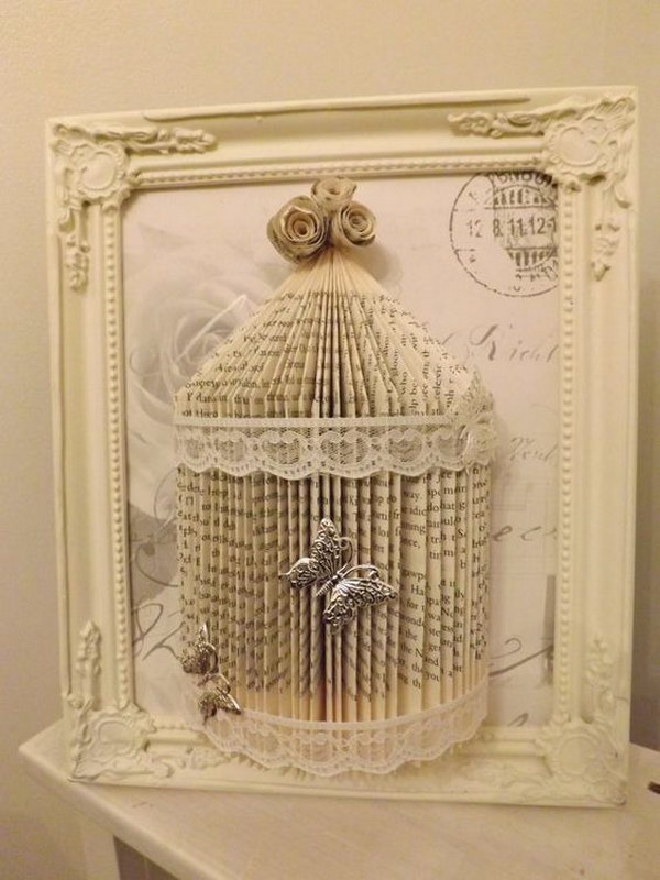 Shabby Chic Book Folding Bird Cage