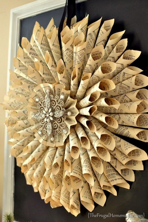 DIY Vintage French Old Book Pages Wreath