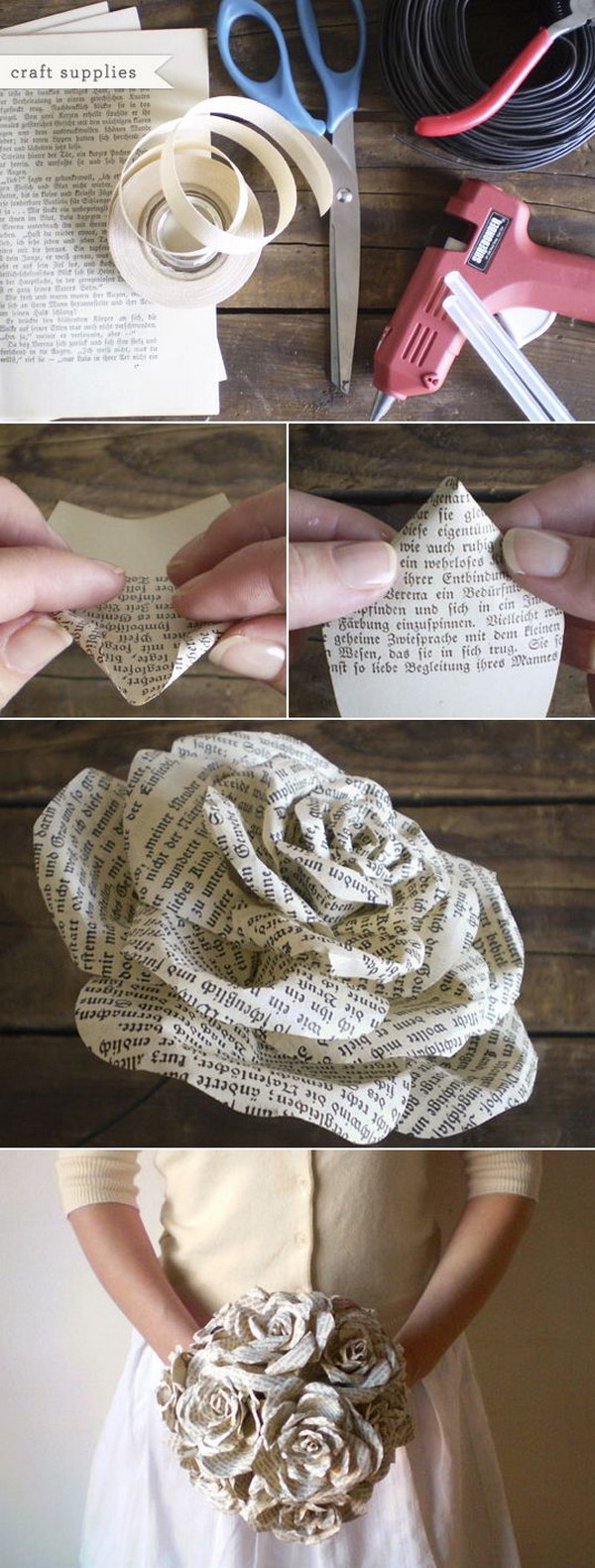 Easy and beautiful diy projects made with old books 2017 recycled book paper roses bouquet mightylinksfo