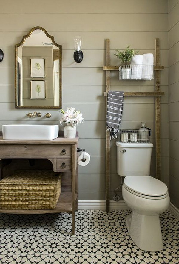 Bathroom Ladder Over The Toilet For Storage