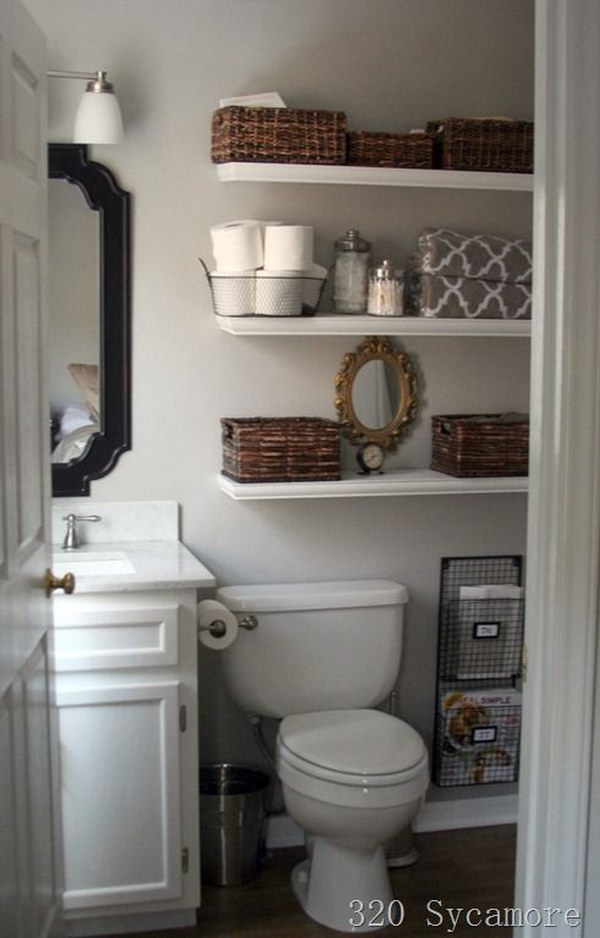 Floating Shelves Over The Toilet.