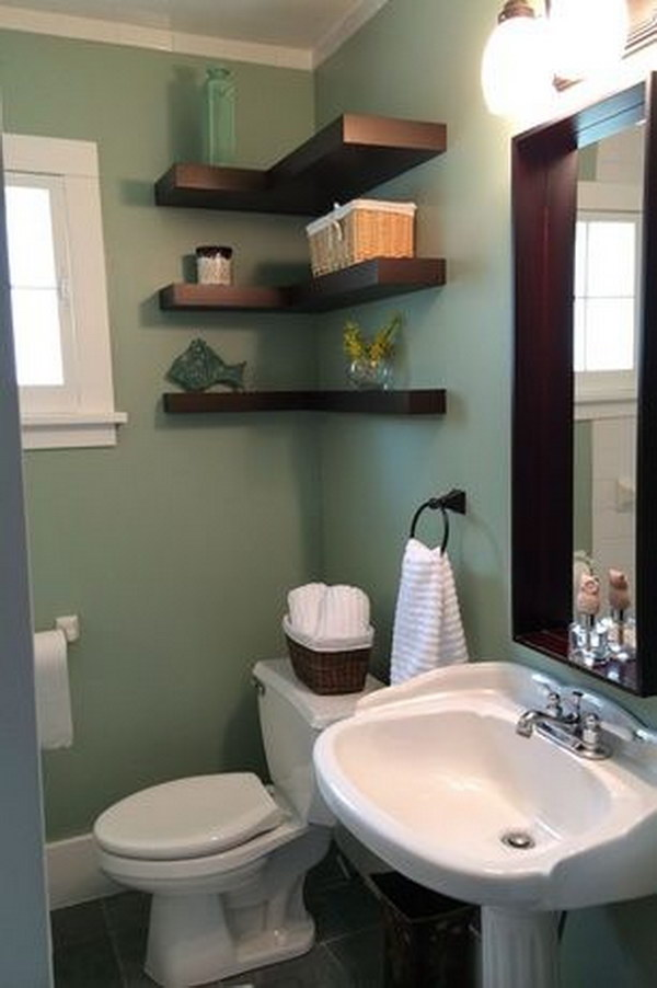 Over The Toilet L-Shape Floating Shelves