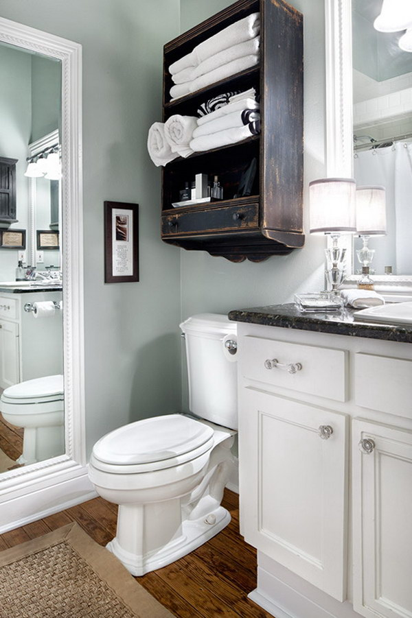 Small Bathroom Shelves Above Toilet
