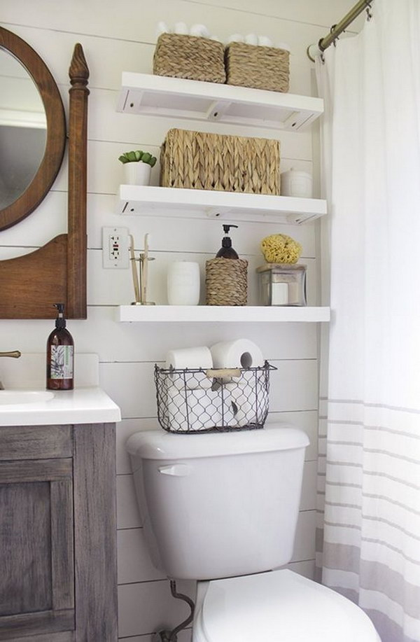 Over The Toilet Open Shelves With Baskets For Storage Bathroom Gl