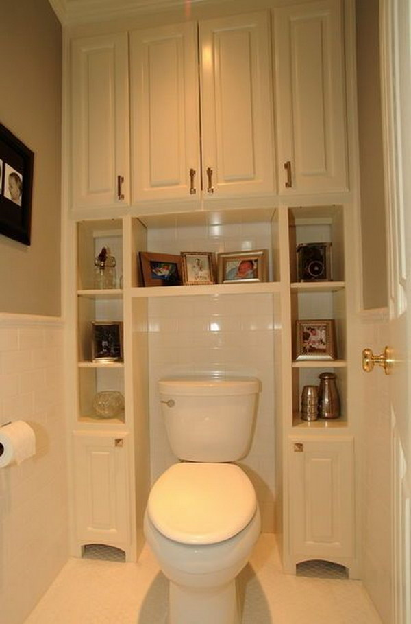 built in bathroom cabinets surrounding toilet - Over The Toilet Cabinet