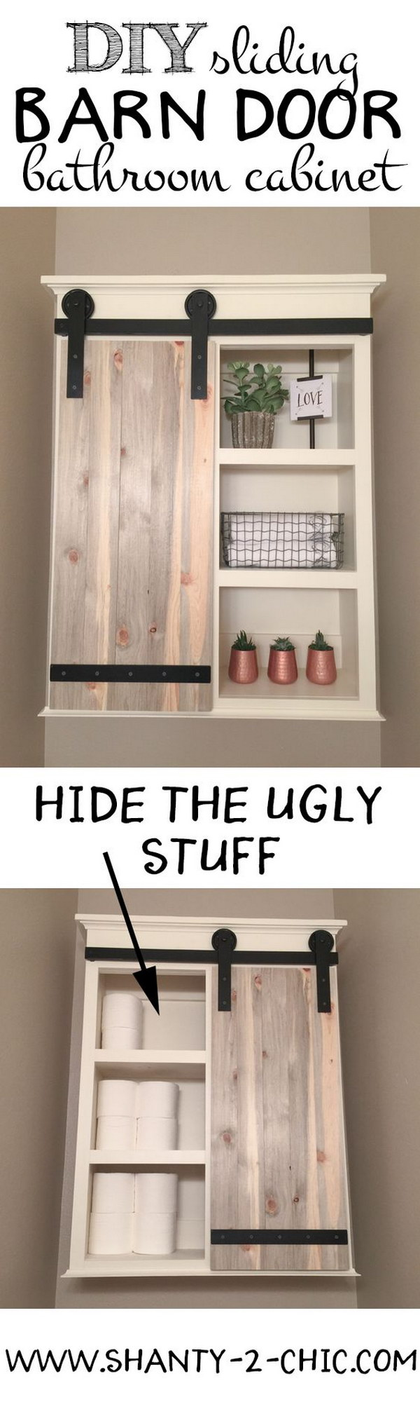 DIY Sliding Barn Door Storage Cabinet