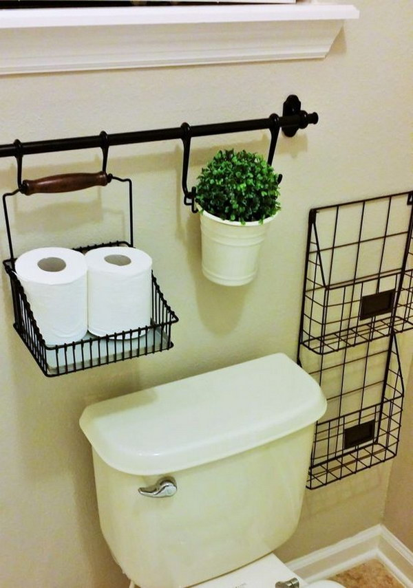 Use Curtain Rods For Over The Toilet Storage.