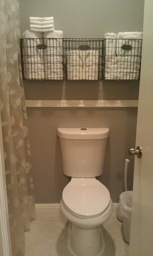 bathroom towel storage over the toilet - Towel Storage