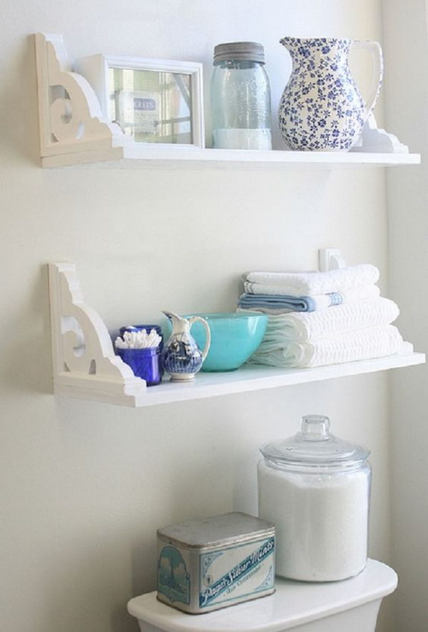 DIY Decorative Bathroom Shelves With Brackets