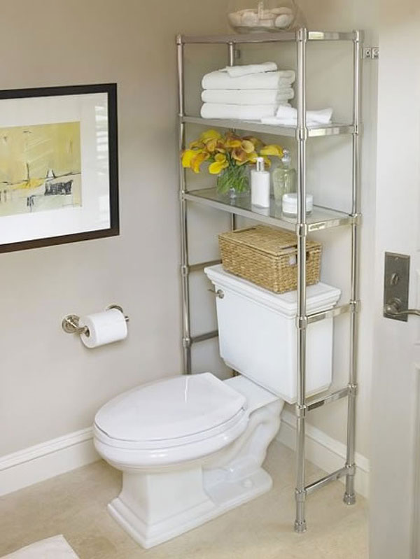 E Saving Chrome Steel Rack For Modern Bathroom Storage