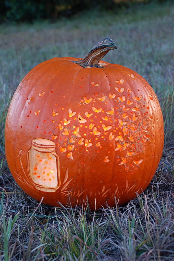 Fireflies Pumpkin Carving Ideas.