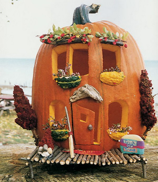 Cute Carved Pumpkin Abode