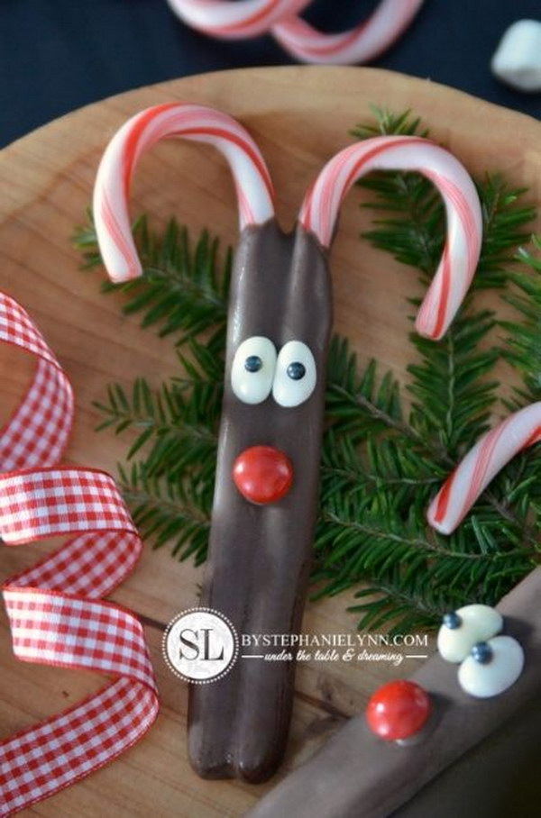 Chocolate Covered Reindeer Candy Canes.