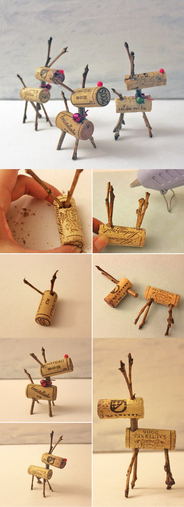 Wine Cork Reindeers.
