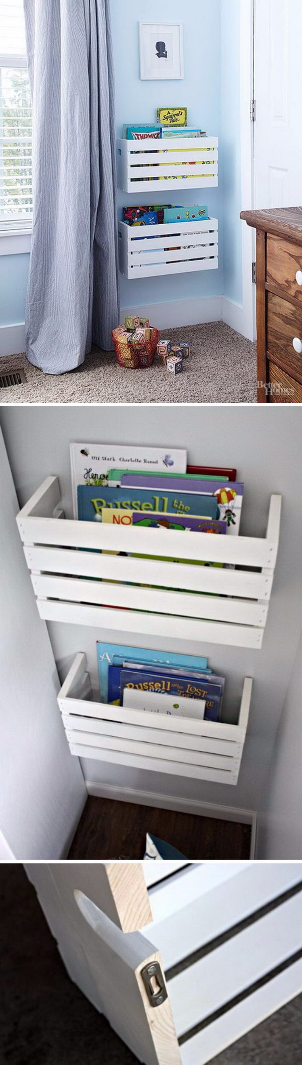 Make Great Crate Book Storage for Unused Wall Space.