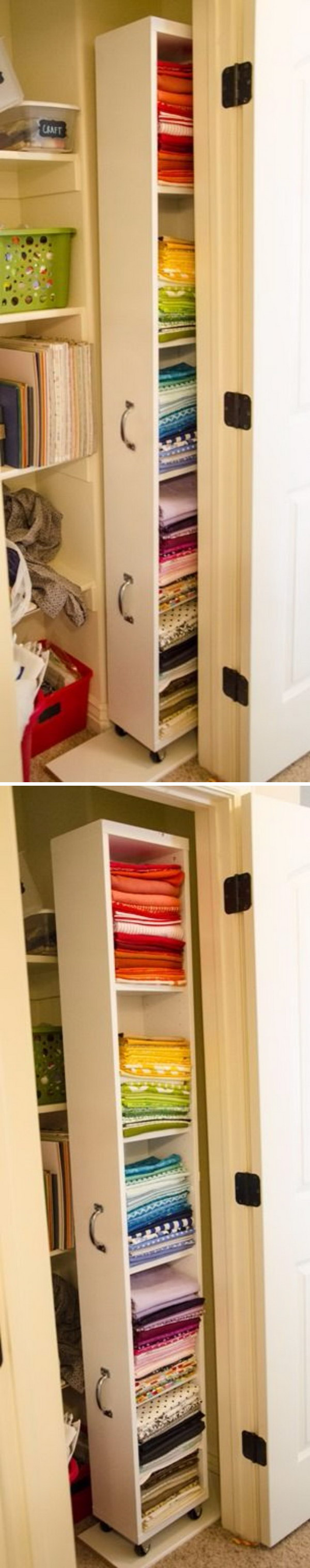 Create More Space to Your Closet with This IKEA Billy Hack Rolling Closet Organizer.