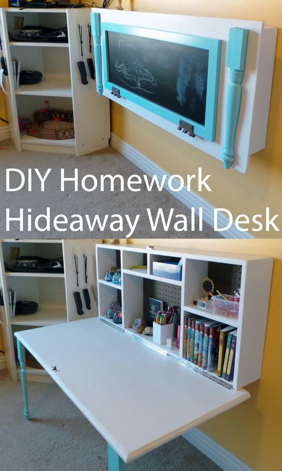 DIY Hideaway Wall Desk for Kids' Homework.