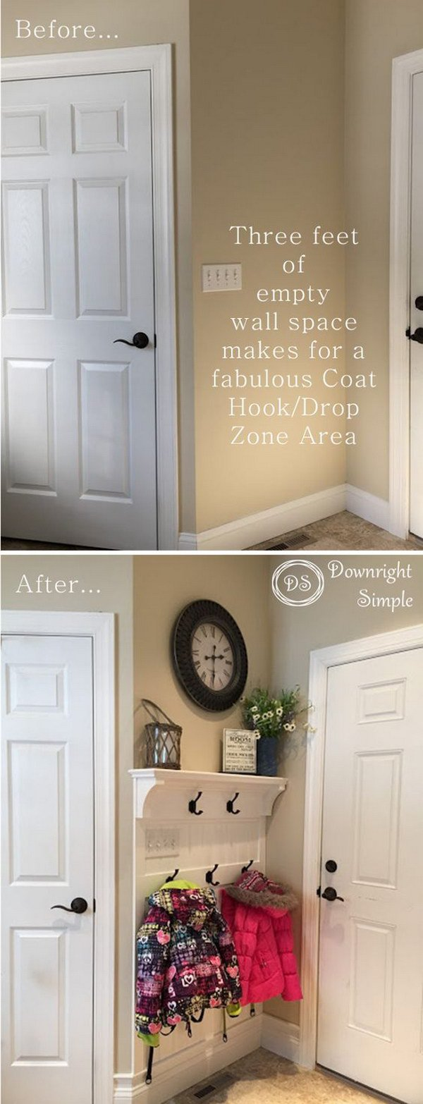 Add Storage and Decoration to Small Entryway Space with Board and Batten Wall.