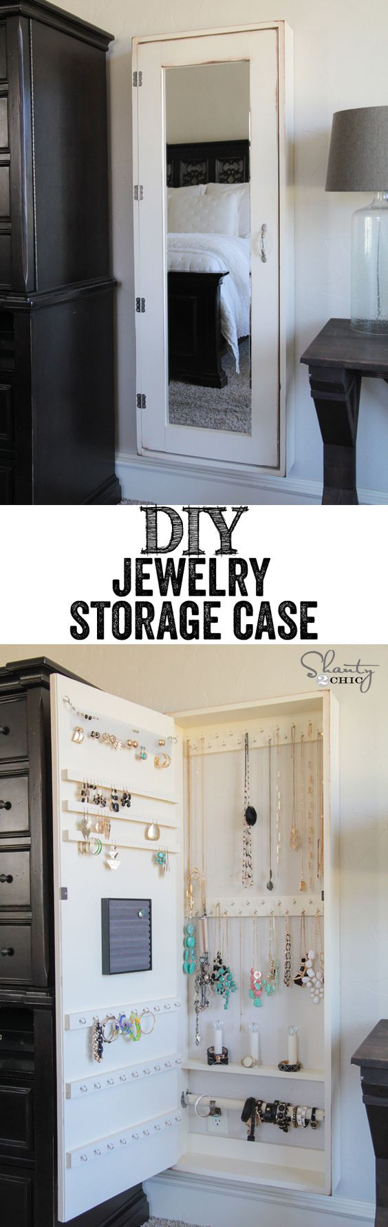 DIY Wall Mirror Jewelry Storage Case.