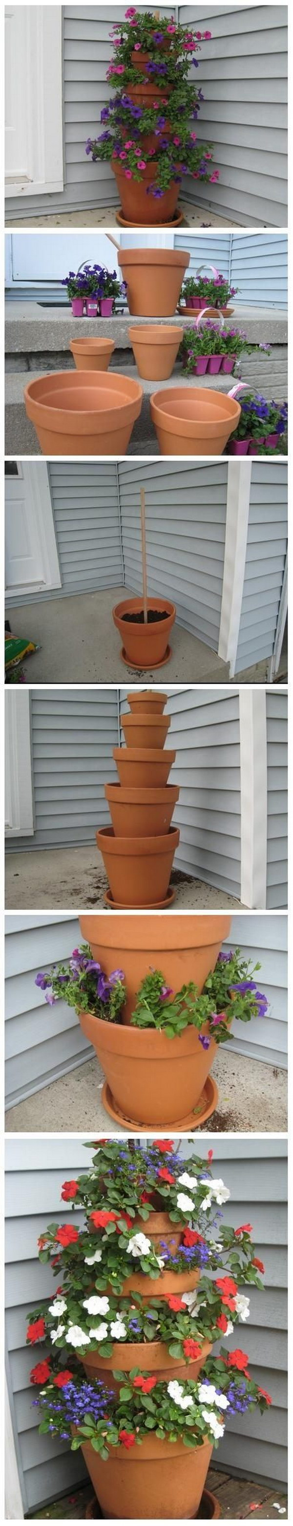 DIY Terra Cotta Pot Flower Tower Garden