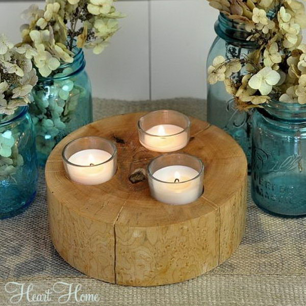 Rustic Wood Votive Holders. Get the instructions