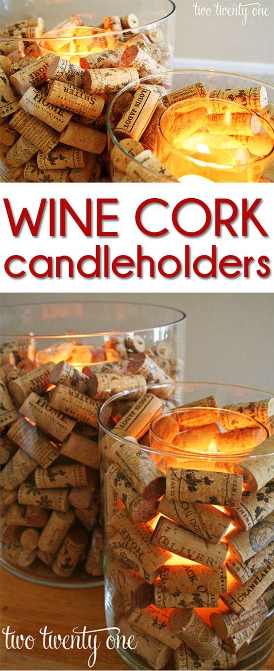 DIY Wine Cork Candle Holders.