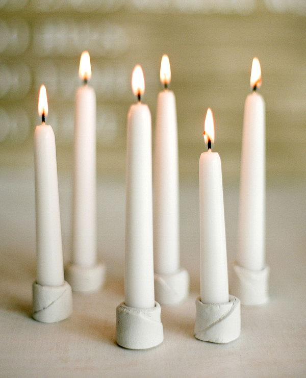 Small Clay Candle Holders. Get the tutorial