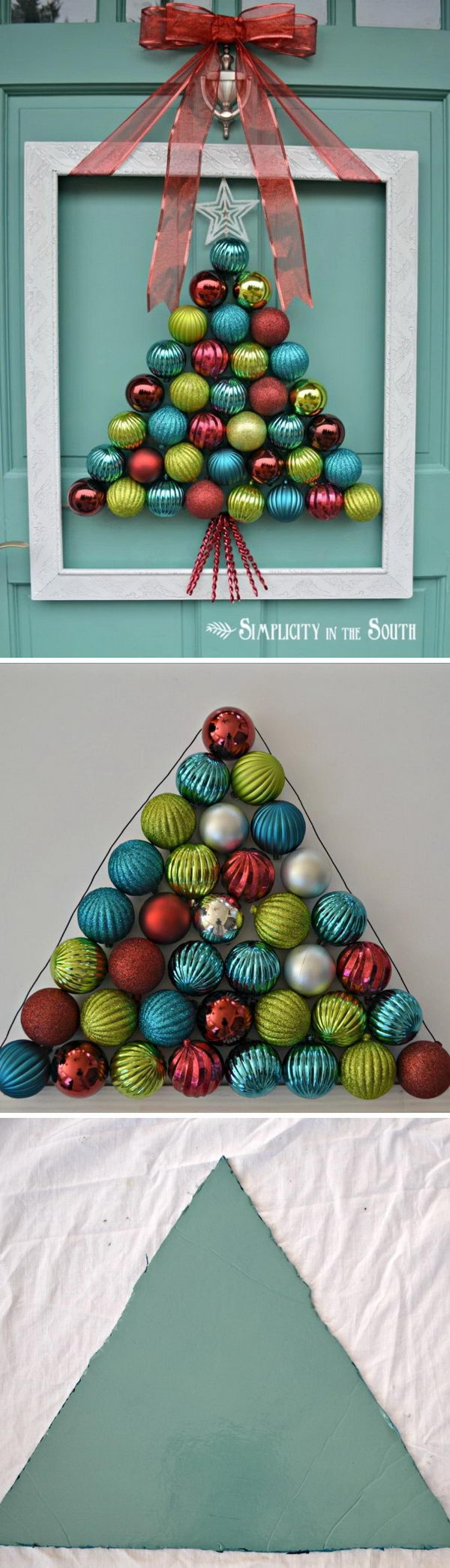 Framed Christmas Tree Ornament Wreath.
