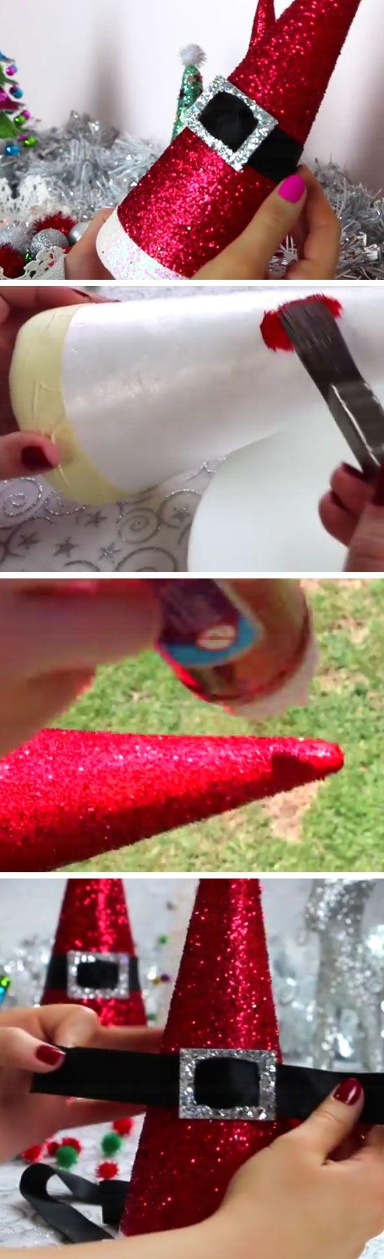 DIY Santa Hat Cones.