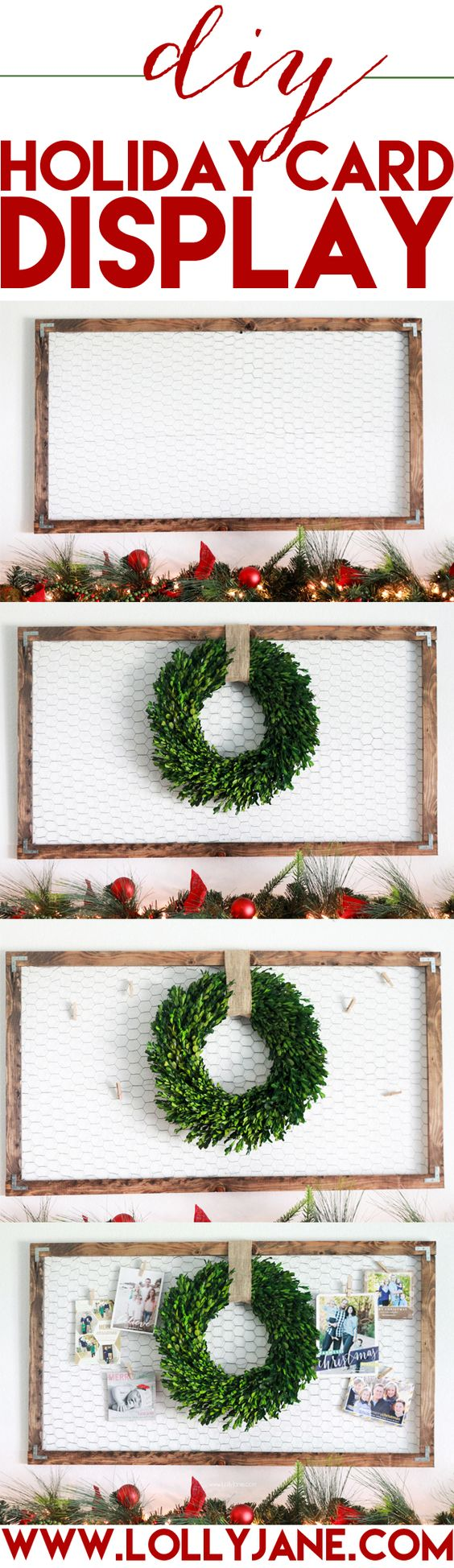 Rustic Holiday Card Display.