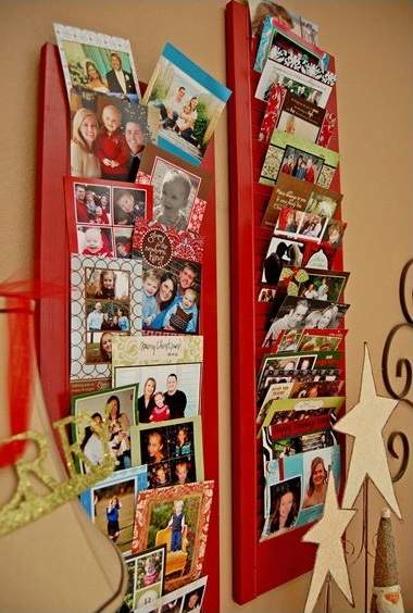 Repurposed Shutter Christmas Card Holder.
