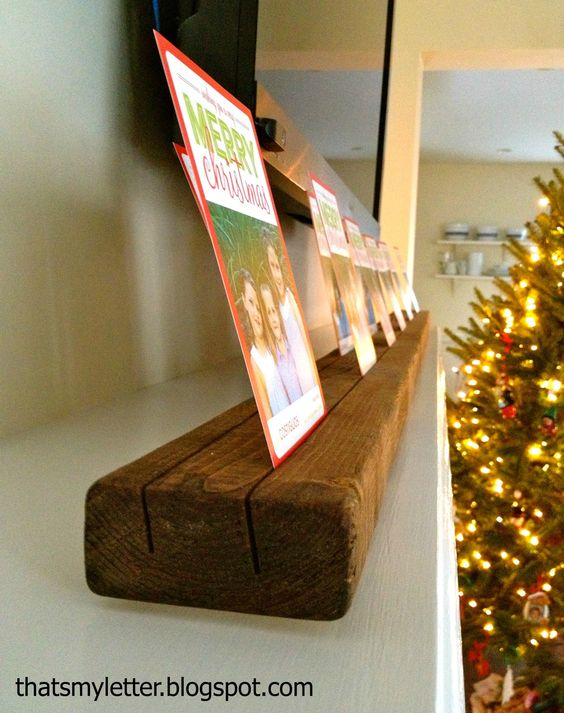 DIY Wood Board Card Holder.